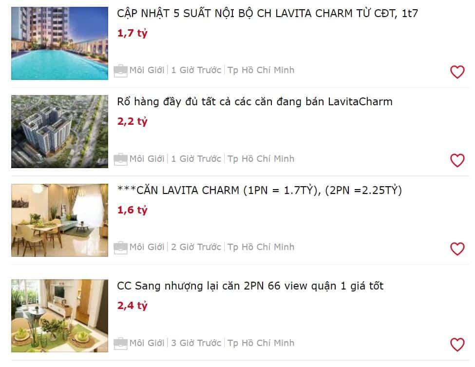 Bảng giá căn hộ Lavita Charm mới nhất