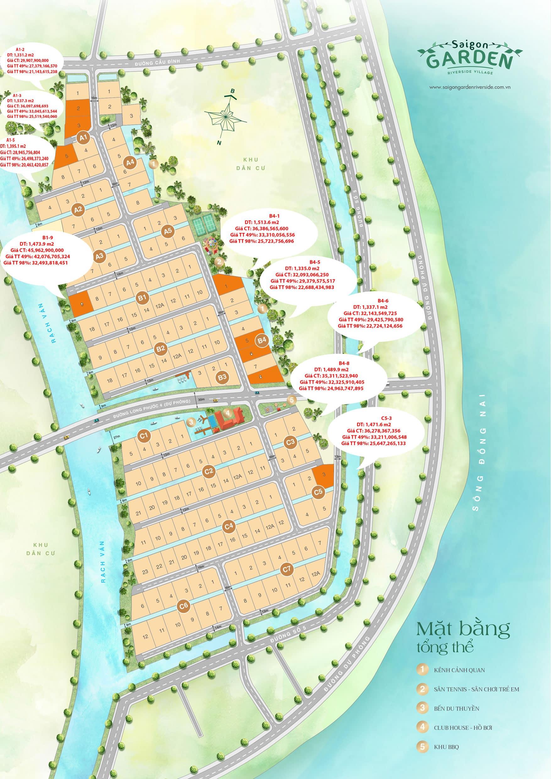Mặt bằng và giá biệt thự Saigon Garden Riverside Village tháng 12/2020