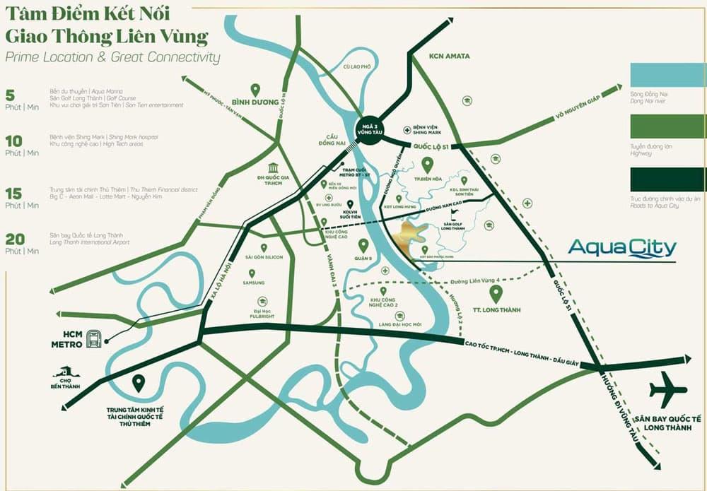 Vị trí dự án Aqua City Đồng Nai của Novaland