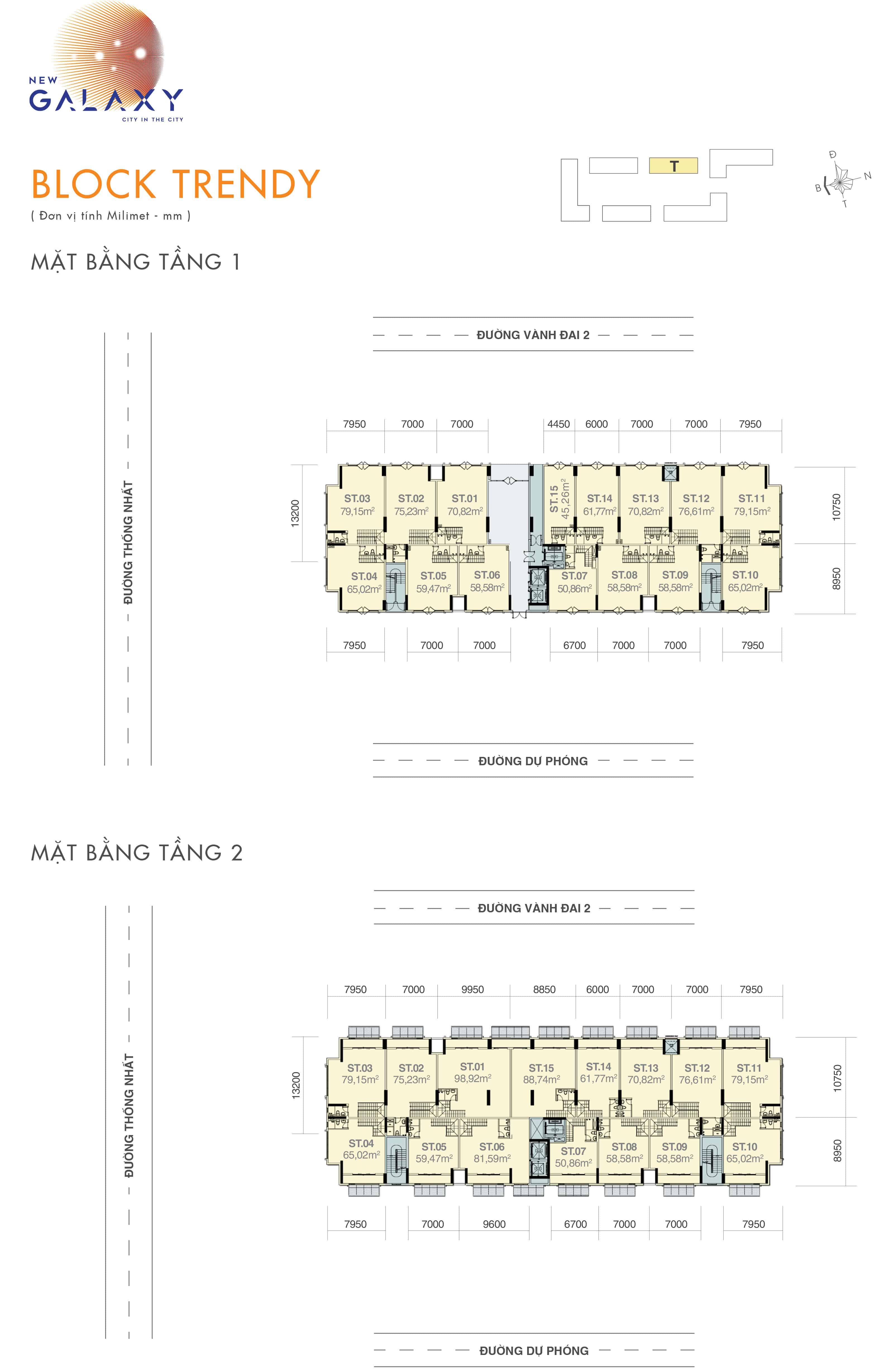 Chi tiết thiết kế shophouse tầng 1-2 block BLOCK TRENDY