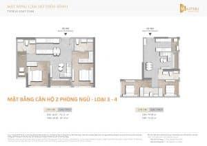 Mặt bằng masteri centre point 2 phòng ngủ loại 3 - 4