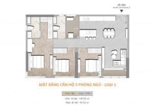 Mặt bằng masteri centre point 3 phòng ngủ