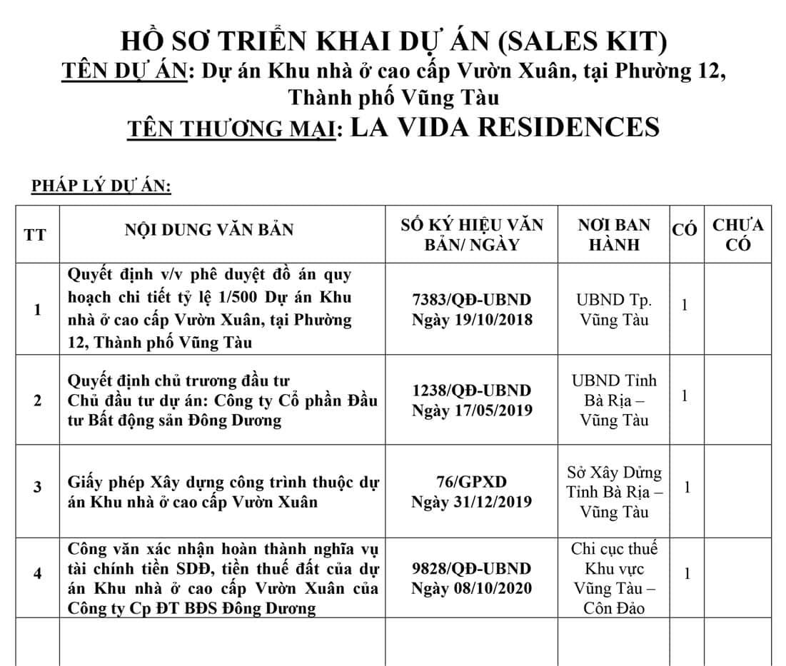 Danh mục pháp lý Lavida Residences