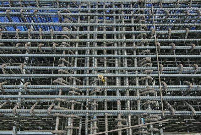 Thi công cốt thép dầm chuyển tầng 4 và tầng 5 block Venus