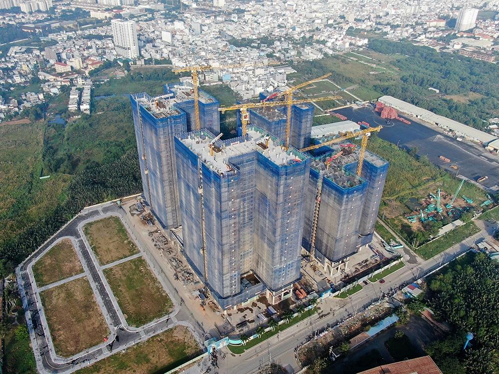Hình ảnh tổng thể block Mercury, block Uranus, block Saturn và block Venus dự án Q7 Saigon Riverside Complex