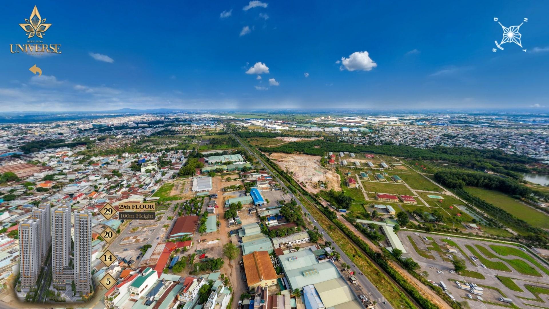 Hình ảnh thực tế hướng view Biên Hòa Universe nhìn về hướng Đông-Nam