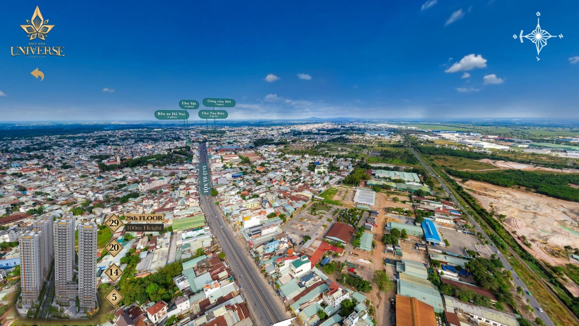 Hình ảnh thực tế hướng view Biên Hòa Universe nhìn về hướng Đông