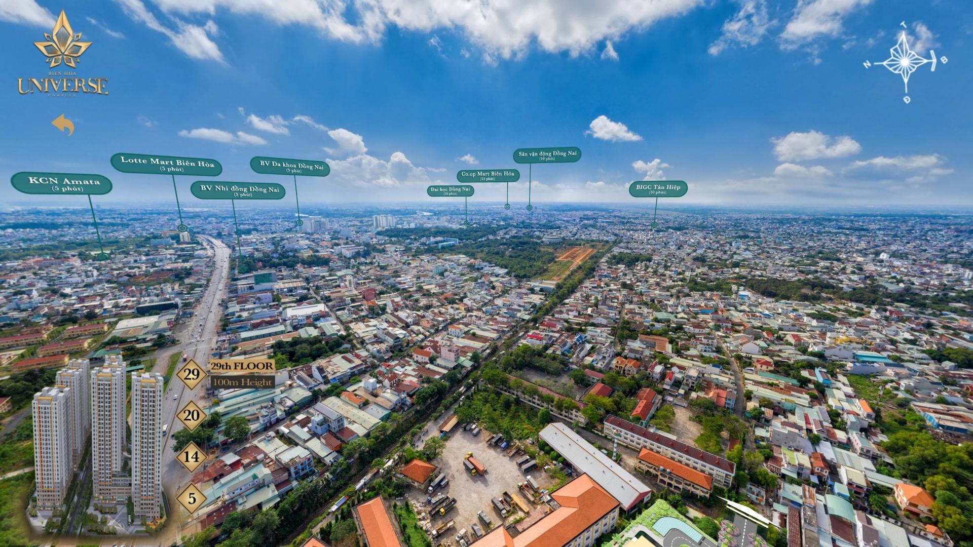 Hình ảnh thực tế hướng view Biên Hòa Universe nhìn về hướng Tây