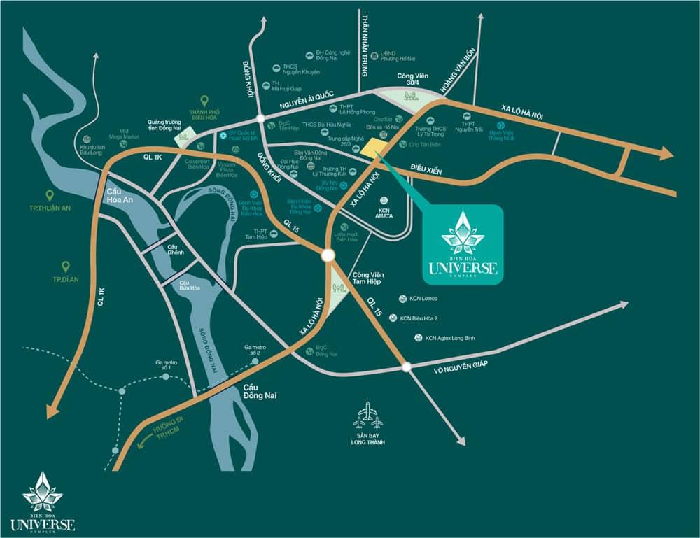 Vị trí dự án căn hộ Hưng Thịnh Biên Hòa