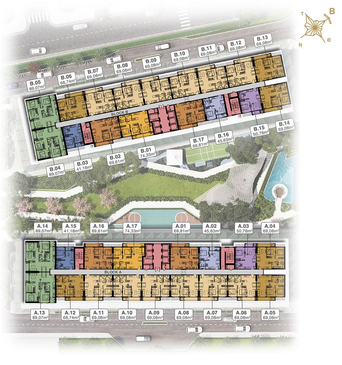 Mặt bằng tầng điển hình Block A&B dự án Lavita Thuận An