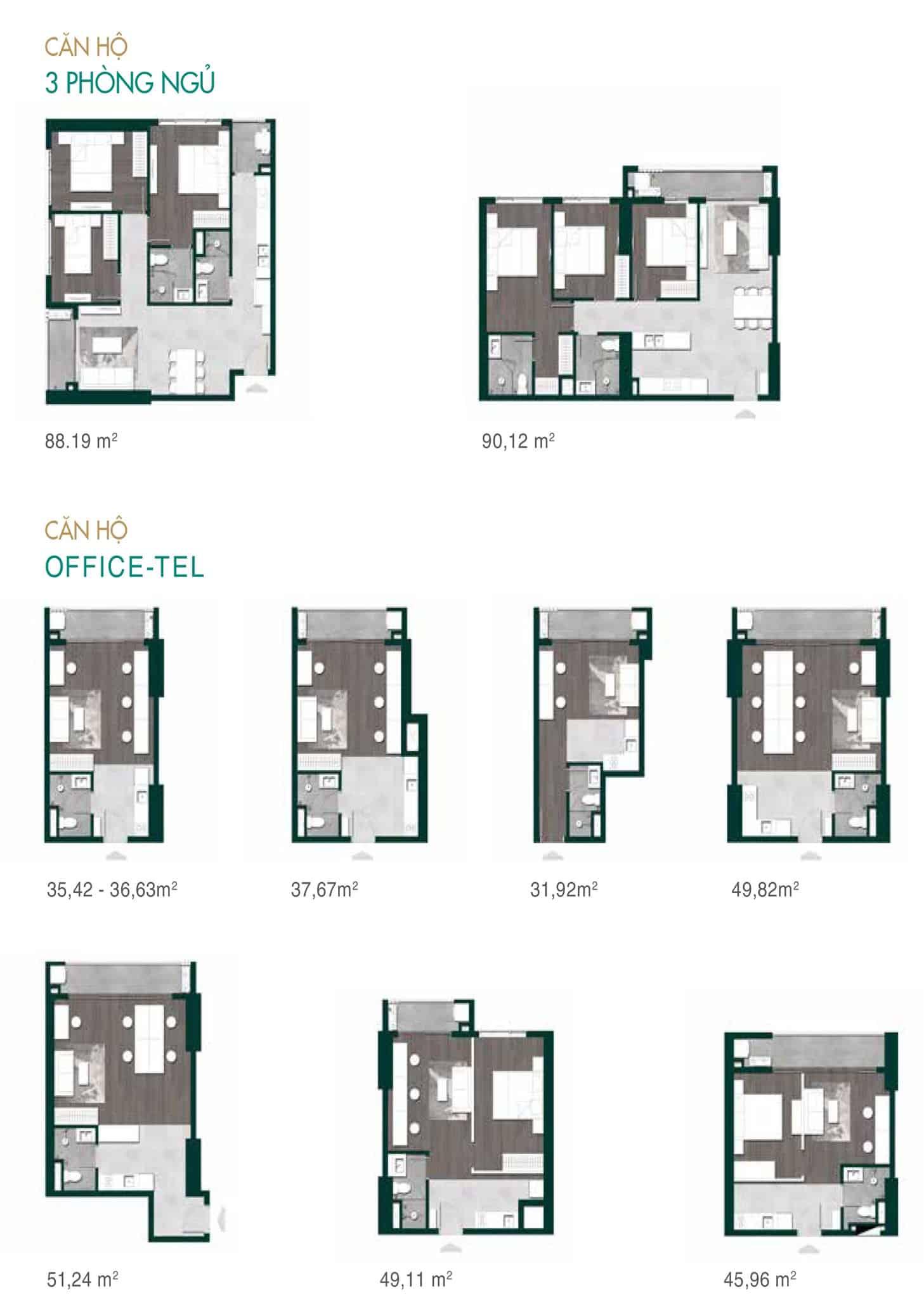 Bản vẽ thiết kế căn hộ 3 phòng ngủ và Officetel dự án Lavita Thuận An Hưng Thịnh