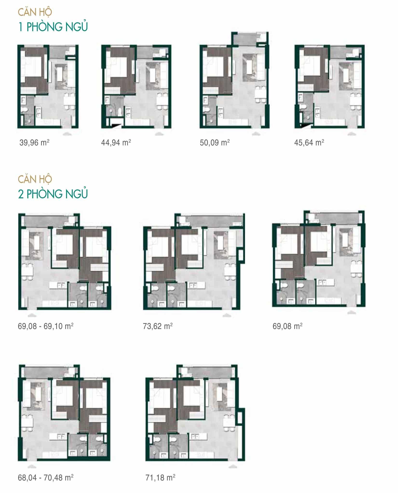 Bản vẽ thiết kế căn hộ 1 và 2 phòng ngủ dự án Lavita Thuận An Hưng Thịnh